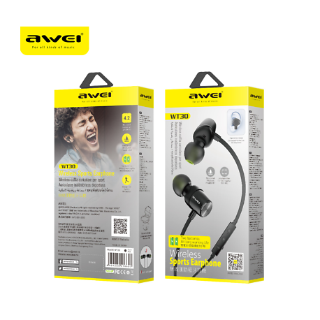 Awei WT30 Magnetic Sports Bluetooth Earphone Earbuds - Black
